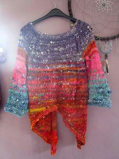 Kknit sweater using handspun yarn & 9 mm needles