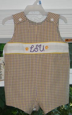 Baby's reversible LSU/ Saints johnny by BabesnBrats on Etsy, $35.00