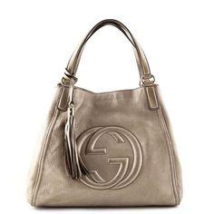 d808204d9372 Gucci Pewter Metallic Soho Tassel Tote - LOVE that BAG - Preowned Authentic  Designer Handbags