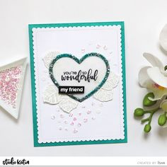 Hello everyone! Isha here sharing a CAS mixed media card using a variety of products! I started by die-cutting a white mat layer. Paper Crafts Magazine, Mixed Media Cards, Memory Box Dies, May Arts, Whimsy Stamps, Friendship Cards, Creating A Blog, Penny Black, Hello Everyone