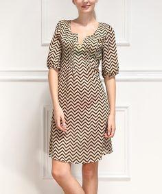It's $19.99! Loving this Black Zigzag Notch Neck Dress on #zulily! #zulilyfinds