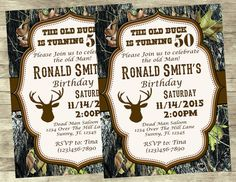 Hunting Buck Green Brown Camo Birthday Party Funny Card Camo