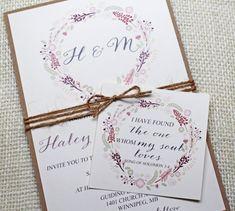 Floral Wedding Invitations - Shabby Chic Wedding Invitations, Chic Floral Wedding Invitation, Lace Wedding. Floral Wedding.