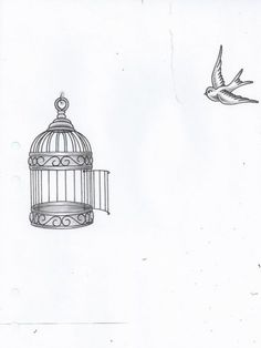Trendy Bird Flying Out Of Cage Tattoo Simple 27 Ideas - Trendy Bird Flying Out Of Cage Tattoo Simple 27 Ideas - Small Bird Tattoos, Black Bird Tattoo, Tattoo Bird, Birds Flying Away, Bird Flying, Bird Drawings, Tattoo Drawings, Birdcage Drawing, Tatoo Phoenix