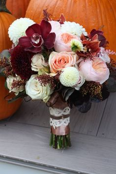 Blush, ivory, latte and burgundy wedding bouquet