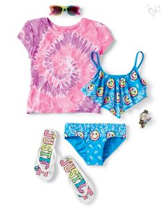 Emojis, sunnies and a vibrant tee add up to a fun, poolside look tie dye for. Girls Fall Fashion, Girls Fashion Clothes, Tween Fashion, Fashion Outfits, Justice Clothing, Justice Outfits, Cute Summer Outfits, Cool Outfits, Dance Outfits