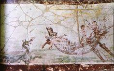 Jonas et le monstre marin - IIIeme s - Catacombe de Calliste - Rome - Chapelle des sacrements