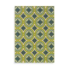 Sphinx™ Caspian Green/Blue Medallion Indoor/Outdoor Rug - BedBathandBeyond.com. Need two rugs  sizes 3'7 x5'6 and 6'7 x 9'6.