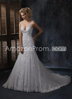 Brilliant A-line V-neck Sleeveless Chapel Pick-up Lace Wedding Dresses