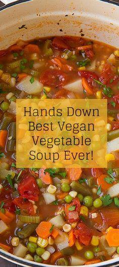 Our Best Vegan Recipes: Vegan Vegetable Soup soup healthy recipes rezepte soup soup Best Vegan Recipes, Veggie Recipes, Whole Food Recipes, Vegetarian Recipes, Cooking Recipes, Healthy Recipes, Easy Recipes, Diet Soup Recipes, Cooking Pork