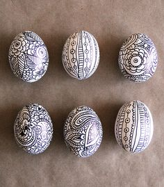 If you've got time on your hands, why not doodle on your eggs with a regular sharpie? Alisa Burke can do a mean doodle, that is for sure.