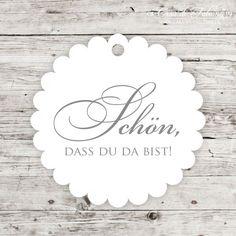 """Geschenkanhänger Elegance - Schön, dass Du da bist: Schlichte Geschenkanhänger aus unserer Hochzeitsserie """"Elegance"""" mit dem Text """"Schön, dass Du da bist"""". Die ..."""