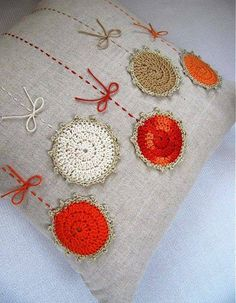 Pillow • I have quite few small crochet motifs and could easily dye some of them to make a cushion similar to this.