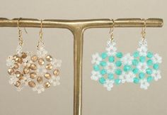 Make bead earrings that shimmer and sparkle like freshly fallen snow with this pattern for Beautiful Beaded Snowflake Earrings.