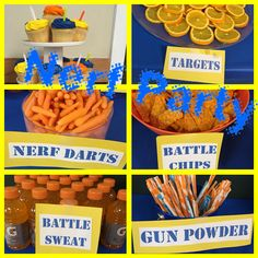 Nerf Party food was easy and quick...we also has Reese's labeled need bullet holes....easy and fun!