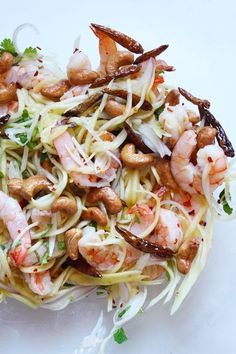 Healthy Thai Mango Salad with Grilled Shrimp and Cashews