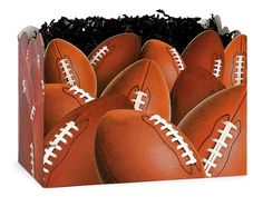 Football Gift Basket Box Containers in large & small sizes available through Nashville Wraps! #footballgiftbaskets #masculinegiftideas #sportsgiftbaskets