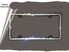 classic swarovski crystal 2 rows of sparkle bling license plate frame 5895