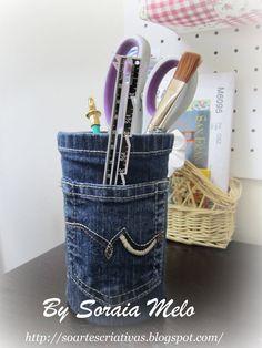 """So Artes Criativas: Porta-lápis em jeans...com tutorial e """"senta que lá vem estória"""" :)"""