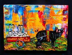 PiG CART~FAiNTiNG GOAT~painting Abstract FOLK ART Maine outsider~COASTWALKER~