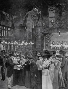 Nineteenth Century Photo relief of the garden of the Moulin Rouge, 1898 via TATE