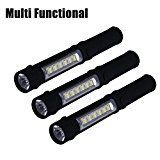 #9: NewVan Tech 3 in 1 Multi-Function LED Flashlight with Magnetic Base Black Pack of 3