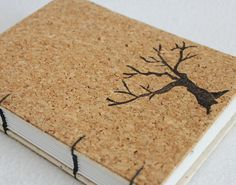Cork Tree Recycled Journal or Sketchbook by PrairiePeasant #teamupcyclers