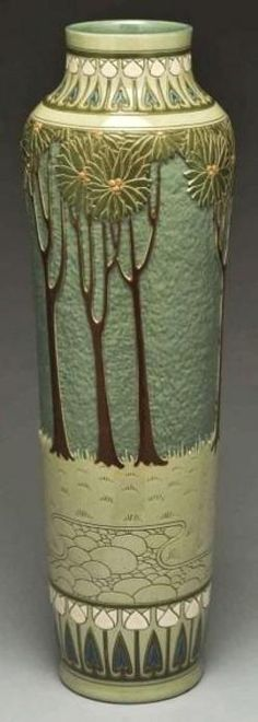 Roseville Pottery; Rozane, Della Robbia, Smith (Helen), Vase, Cavalier & Tulips, 20 inch.