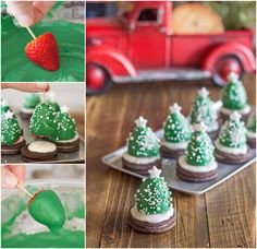 These Chocolate Covered Strawberry Christmas Trees are NO Bake and they are a cinch to make. Your guests will love the Strawberry Christmas Tree Brownie Bites too! Christmas Tree Food, Christmas Tree Brownies, Christmas Photo, Christmas Goodies, Christmas Cooking, Christmas Things, Christmas Items, Strawberry Santa Hats, Strawberry Dip