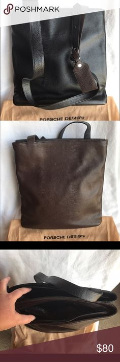 "NWOT Porsche Design two tone shoulder bag NWOT Porsche Design two tone (black/dark brown) leather shoulder bag with adjustable strap and ID tag. 12.75"" wide X 13"" tall X 5"" front to back. 21.5-25.5"" shoulder strap drop (could be used as cross-body bag). 2 zippered compartments. Brown side has zipper compartments. No rips, stains, tears, scratches, odors, etc. Smoke free home. Comes with original dust bag. Porsche Design Bags Shoulder Bags"