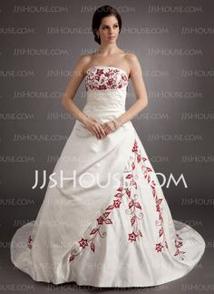 Wedding Dresses - $198.99 - Ball-Gown Strapless Chapel Train Satin Wedding Dress With Embroidery Ruffle Beadwork (002004536) http://jjshouse.com/Ball-Gown-Strapless-Chapel-Train-Satin-Wedding-Dress-With-Embroidery-Ruffle-Beadwork-002004536-g4536