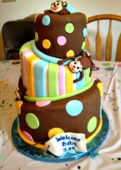 Baby Shower Cake with monkeys and polka dots! Welcome baby  #DIY #Cute #Baby Boy or Girl