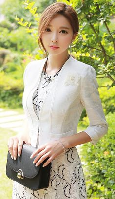 StyleOnme_White Trim Quarter Sleeve Jacket