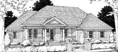 Unique House Plans, Vintage House Plans, Garage House Plans, Family House Plans, Car Garage, Traditional House Plans, Traditional Homes, Traditional Design, Roof Beam