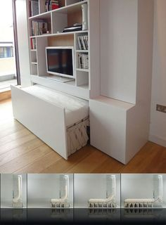 I like how the bed is able to fold up into the entertainment center to save space when company is around.