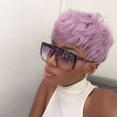 black girl with colored hair, colorful hair, lavender hair, purple hair inspiration, short haircut