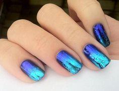 nail art ombré, déco ongles bleue dégradée