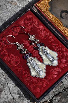 RELIGIOUS MEDAL EARRINGS. Amethyst Earrings. Repurposed