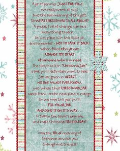 Christmas Jar Poem Printable. This would be great for a classroom service to humanity project.
