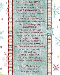Christmas Jar Poem Printable