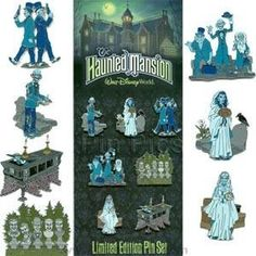 Disney Collector Pin Set - The Haunted Mansion Disney Pins Sets, Disney Trading Pins, Hitchhiking Ghosts, Ghost Bride, Disney Collector, Tower Of Terror, Disney Figurines, Corpse Bride, Haunted Mansion