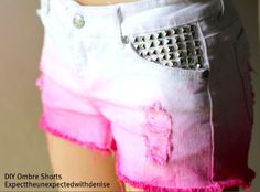 diy fashion (D-I-Y Pink Ombre Shorts with Studs!)  diyfashion.tumblr.com