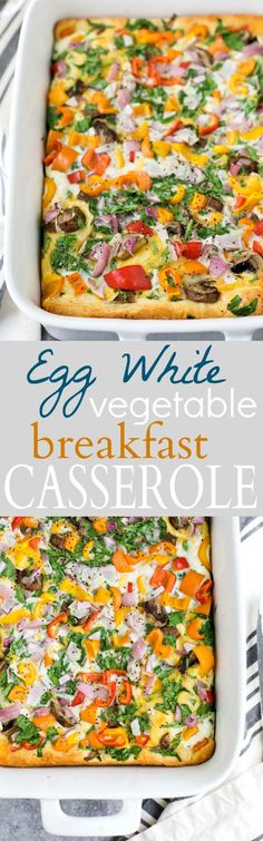 Egg White Vegetable Breakfast Casserole - an easy healthy breakfast recipe. Loaded with veggies, egg whites, and cheese! Perfect for a weekend brunch and only 75 calories a serving!