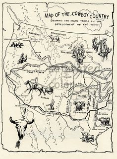 Vintage Cowboy Trails Map with Indian Territories - Original 1950 children's illustration print