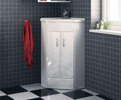 Essential White 410 Cloakroom Freestanding Corner Vanity Unit with Sink - V50121076BU scene square medium