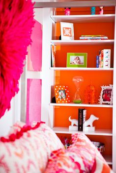 love hot pink and orange for a teen's room!
