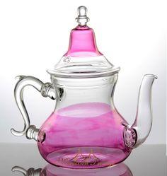 glass tea pots | Moroccan hand blowing Fuchsia Glass Teapot