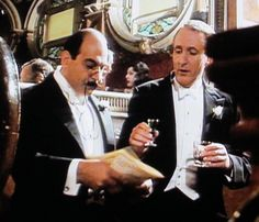 Mystery of the Spanish Chest | His favorite drinks we learn are Creme de Menthe, Creme de Cassis, and his daily Tisane (at 9:00 am sharp!) with three spoons of sugar. Poirot has a sweet tooth, non?