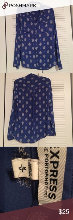 Blue Paisley Express Portofino Shirt Express Portofino Shirt Blue Paisley Size Medium Express Tops Button Down Shirts