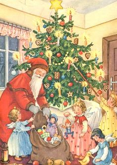 Christmas And New Year, Christmas Holidays, Xmas, Antique Christmas, Vintage Christmas Cards, New Year Card, Christmas Illustration, Santa Baby, Vintage Santas